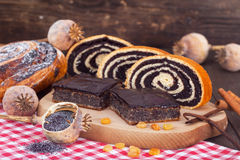 Poppy seed rolls, strudels and cakes Royalty Free Stock Image