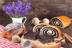 Poppy seed rolls, strudels and cakes Stock Image