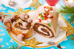 Poppy seed roulade for christmas Royalty Free Stock Images