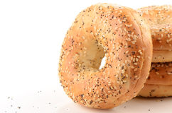 Poppy seed and sesame seed bagels. On white background with room for text Royalty Free Stock Image