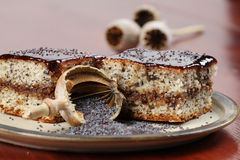 Poppy seed sponge cake with plum jam Stock Images