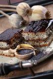 Poppy seed sponge cake with plum jam Stock Image