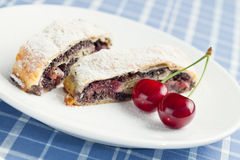 Poppy seed strudel with cherry. Stock Image