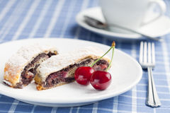 Poppy seed strudel with cherry. Stock Photography