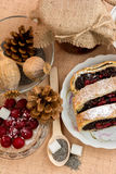 Poppy seed strudel with cherry Stock Photos