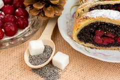 Poppy seed strudel with cherry Royalty Free Stock Photo