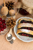 Poppy seed strudel with cherry Royalty Free Stock Photos