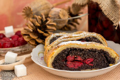 Poppy seed strudel with cherry Stock Images