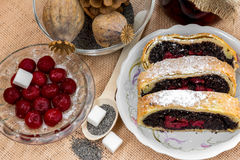 Poppy seed strudel with cherry Stock Photography