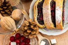 Poppy seed strudel with cherry Stock Photo