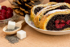 Poppy seed strudel with cherry Stock Image