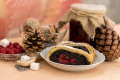 Poppy seed strudel with cherry Royalty Free Stock Images