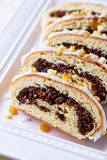 Poppy seed strudel for Christmas; close up Royalty Free Stock Photos