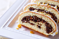 Poppy seed strudel for Christmas; close up Stock Image