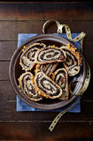 Poppy seed strudel for Christmas, sliced (Poland) Royalty Free Stock Photography