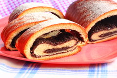 Poppy seed strudel sprinkled with sugar Stock Photography