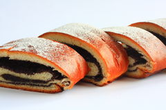 Poppy seed strudel sprinkled with sugar Stock Photo