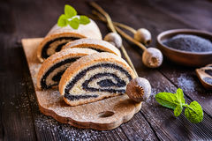 Poppy Seed Strudel Sprinkled With Powdered Sugar Royalty Free Stock Photography