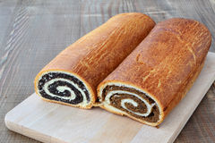 Poppy seed and walnut rolls stock images
