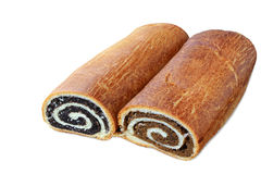 Poppy seed and walnut rolls on white stock photos