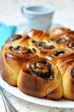 Poppy seed yeast cake. Stock Photos