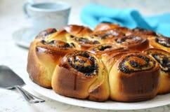 Poppy seed yeast cake. Stock Photo