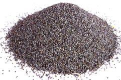 Poppy seeds. Pile of poppy seeds on white background Stock Image