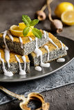 Poppy seeds cake with lemon topping. Delicious poppy seeds cake topped with lemon glaze stock photo