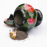 Poppy seeds and jar isoalted Royalty Free Stock Photos