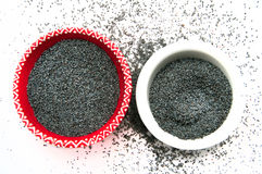 Poppy Seeds in the two plates Stock Images