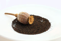 Poppy seeds on a white plate. No Drugs Stock Photo