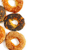 Poppy and sesame bagels on a white background Stock Photo