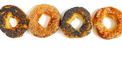 Poppy and sesame bagels on a white background Royalty Free Stock Photo