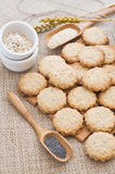 Poppy and sesame seed oat cookies stock photo