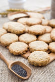 Poppy and sesame seed oat cookies. Poppy and sesame seed oatcakes Royalty Free Stock Photos