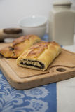 Poppy strudel. A german strudel of leavened dough with a poppy filling stock images