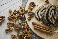 Poppy strudel and walnuts for lunch Royalty Free Stock Photo