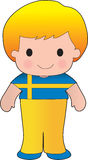 Poppy Sweden Boy. A smiling, well dressed young lad wears clothing representative of Sweden vector illustration