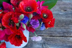 Poppy, sweet pea and corn flowers Stock Image
