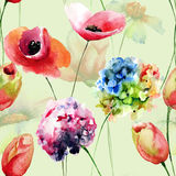 Poppy and Tulips and Hydrangea flowers Royalty Free Stock Images