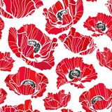 Poppy vector pattern sketch line white black red royalty free illustration