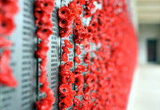 Poppy wall lists the names of all the Australians who died in service of armies. Canberra, Australia - March 18, 2017. Poppy wall lists the names of all the Stock Image