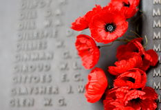 Poppy wall lists the names of all the Australians who died in service of armies. Canberra, Australia - March 18, 2017. Poppy wall lists the names of all the Stock Photography