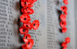 Poppy wall lists the names of all the Australians who died in service of armies. Canberra, Australia - March 18, 2017. Poppy wall lists the names of all the Stock Images