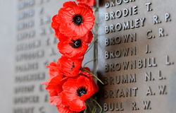 Poppy wall lists the names of all the Australians who died in service of armies. Canberra, Australia - March 18, 2017. Poppy wall lists the names of all the Stock Photos