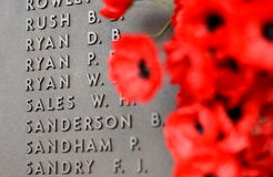 Poppy wall lists the names of all the Australians who died in service of armies. Canberra, Australia - March 18, 2017. Poppy wall lists the names of all the Royalty Free Stock Image