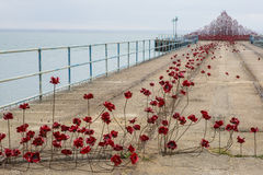 Poppy Wave at Southend-On-Sea. SOUTHEND-ON-SEA, UK - APRIL 16TH 2017:  The Poppy Wave installation by Paul Cummins and Tom Piper on Barge Pier in Shoeburyness Royalty Free Stock Images