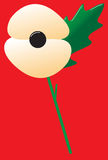 Poppy White With Leaf stock illustrationer