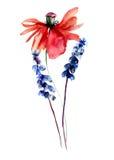 Poppy with wild flowers Stock Image