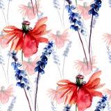 Poppy with wild flowers Stock Photo